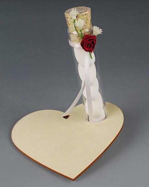 Hochzeitsmandeln im Reagenzglas / Tischkarte